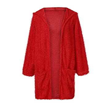 Fuxitoggo Womens Knit Cardigan Pocket Outwear de Manga Larga con Capucha Chaqueta (Color : Rojo, tamaño : SG): Amazon.es: Hogar