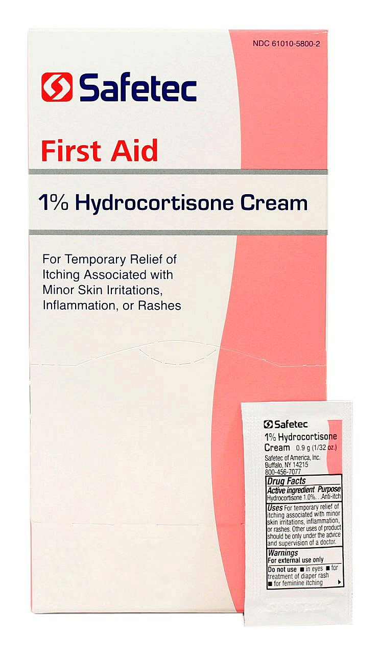 Safetec 1% Hydrocortisone Cream - 0.9 Gram Packets - Box of 144