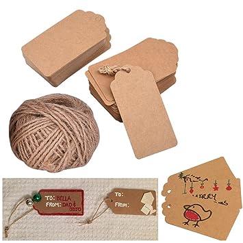 papel kraft etiquetas para regalos 100 piezas boda etiquetas