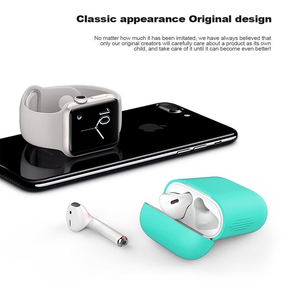 CTGVH Airpods Case Funda Cubierta Protectora Caja Estuche de Silicona con Correa Deportativa Anti-Perdida para Auriculares Bluetooth de iPhone