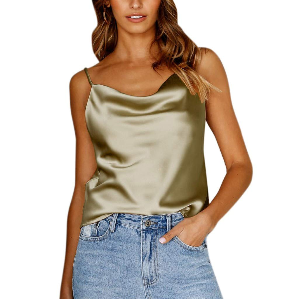 JFLYOU Sexy Womens Solid Color Adjustable Cross Casual Basic Strappy Solid Tank Tops(Army Green,XXL)
