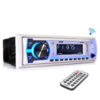 Pyle Marine Bluetooth Stereo Radio - 12v Single DIN Style Boat In dash Radio Receiver System with Built-in Mic, Digital LCD, RCA, MP3, USB, SD, AM FM Radio - Remote Control - PLMRB29W (White)