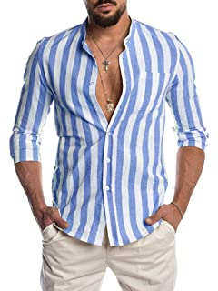 Alion Mens Long Sleeve Casual Tops Slim Fit Vertical Striped Button Down Dress Shirt