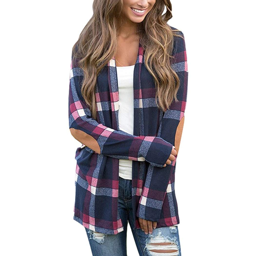 COSYOU Autumn Cotton Blends Cardigan New Women Plaid Tops Casual Camisa Feminina Urban Leisure Style Blouse Blusas Mujer De Moda (Dark Blue, L) by COSYOU