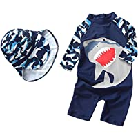 Baby Toddler Boys Girls One Piece Swimsuit Set Shark Bathing Suit Rash Guards Sunsuit with Hat UPF 50+