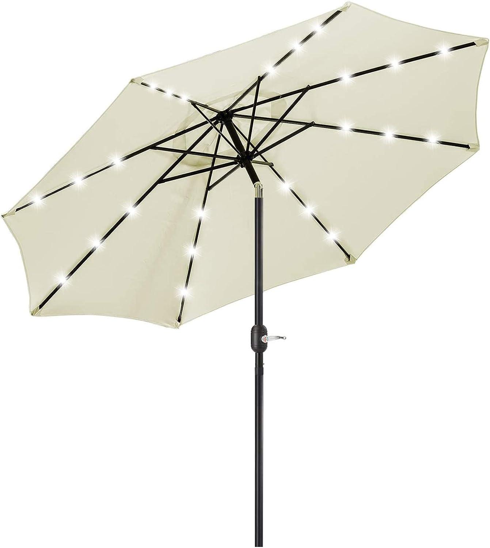 9FT Solar 24 LED Lighted Outdoor Patio Umbrella