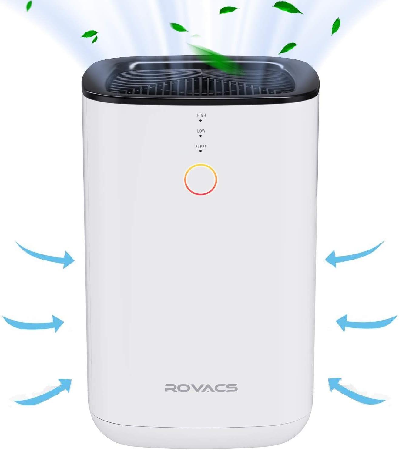 ROVACS Purificador de Aire Doméstico, CADR 88 m³ / h, Filtro HEPA H13 Que Elimina el 99,97% de Alergias, Caspa de Mascotas, Polvo, Limpiadores de Aire de Escritorio, Modo de Suspensión, 24 dB