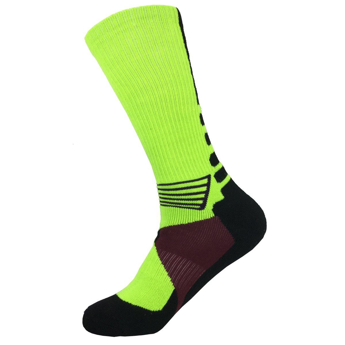 4 Pack Mens Sport Crew Sock Basketball Cushioned Dri-Fit Athletic Long Compression Socks