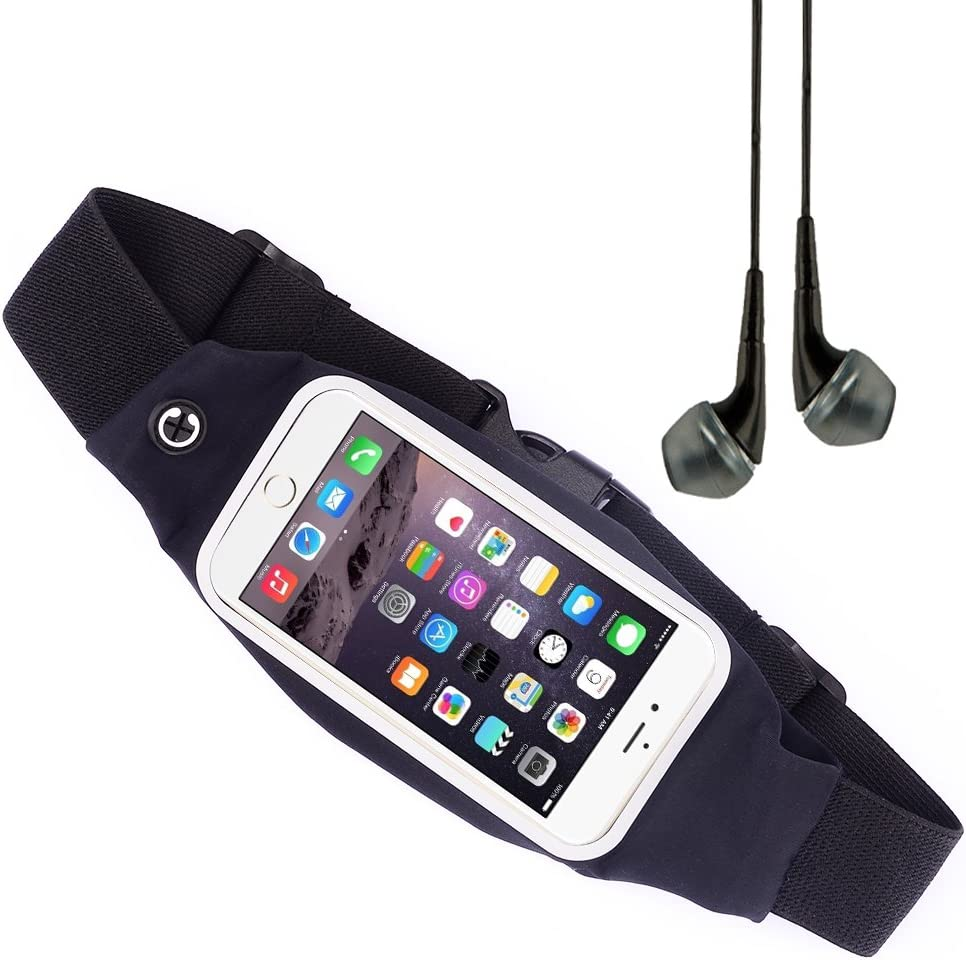 Vangoddy Workout Sport Running Belt Waist Fanny Pack Pouch Case for iPhone 6 Plus, Motorola Moto X Pure Edition, Microsoft Lumia 640 XL, ZTE Axon Factory Phone, Oneplus Two, One Plus VG Headphone