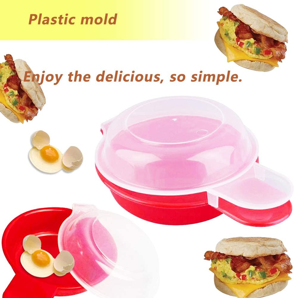 Easy Eggwich Cooking Tool 2Pcs//Set Microwave Cheese Egg Cooker Minute Fast Hamburg Omelet Maker Kitchen Oven Boiler Frieder Eggs Burger Muffin Making Utensils DIY Cook