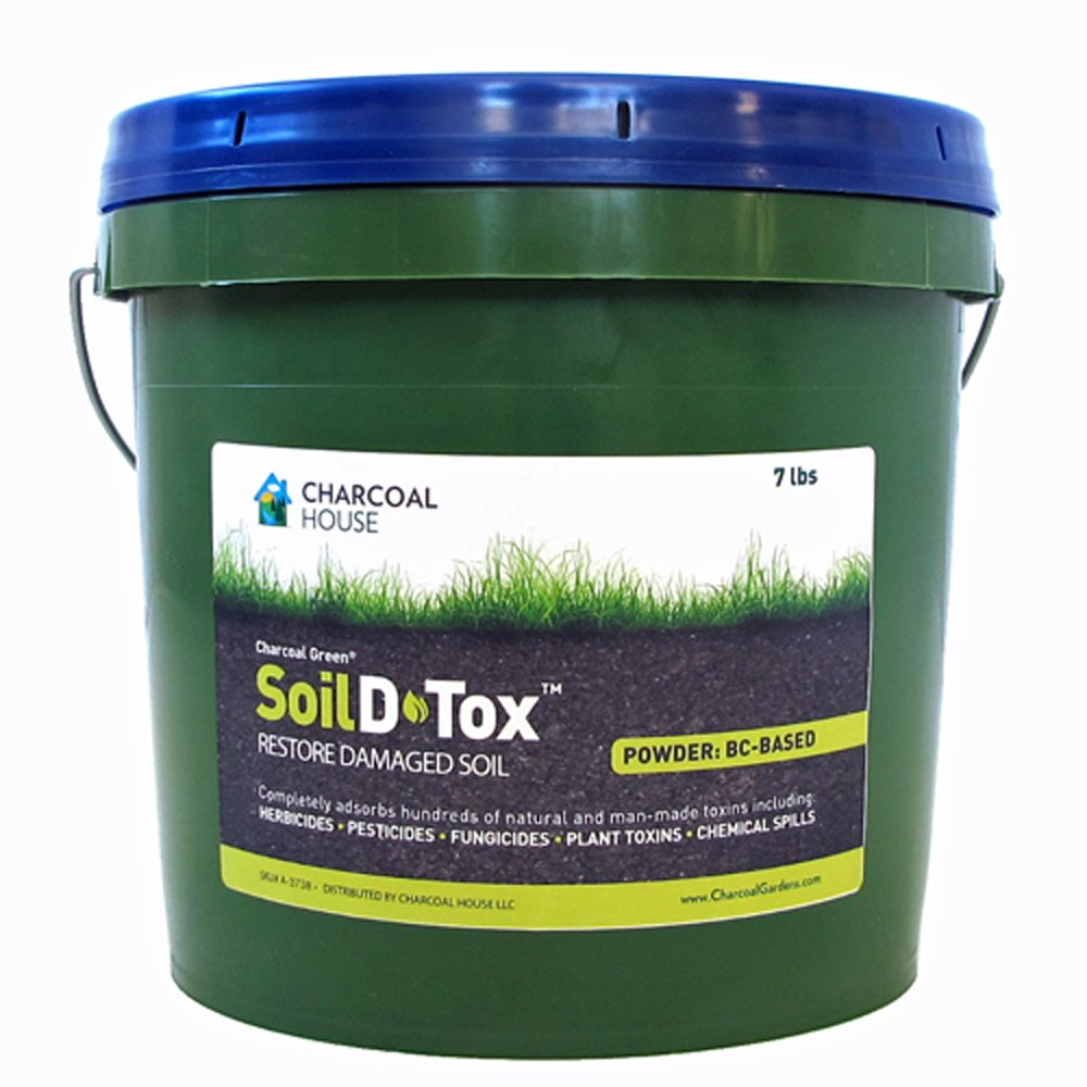7lb/2gal Pail Charcoal Green Soil D•Tox Coal Based Powder Especially manufactured for agricultural applications, Effectively decontaminates soil from chemical spills, pre-emergent herbicides more