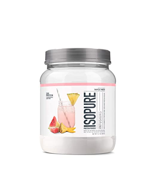 "ISOPURE INFUSIONS, Refreshingly Light Fruit Flavored Whey Protein Isolate Powder, ""Shake Vigorously & Infuses in a Minute"", Tropical Punch, 16 Servings best protein powder"