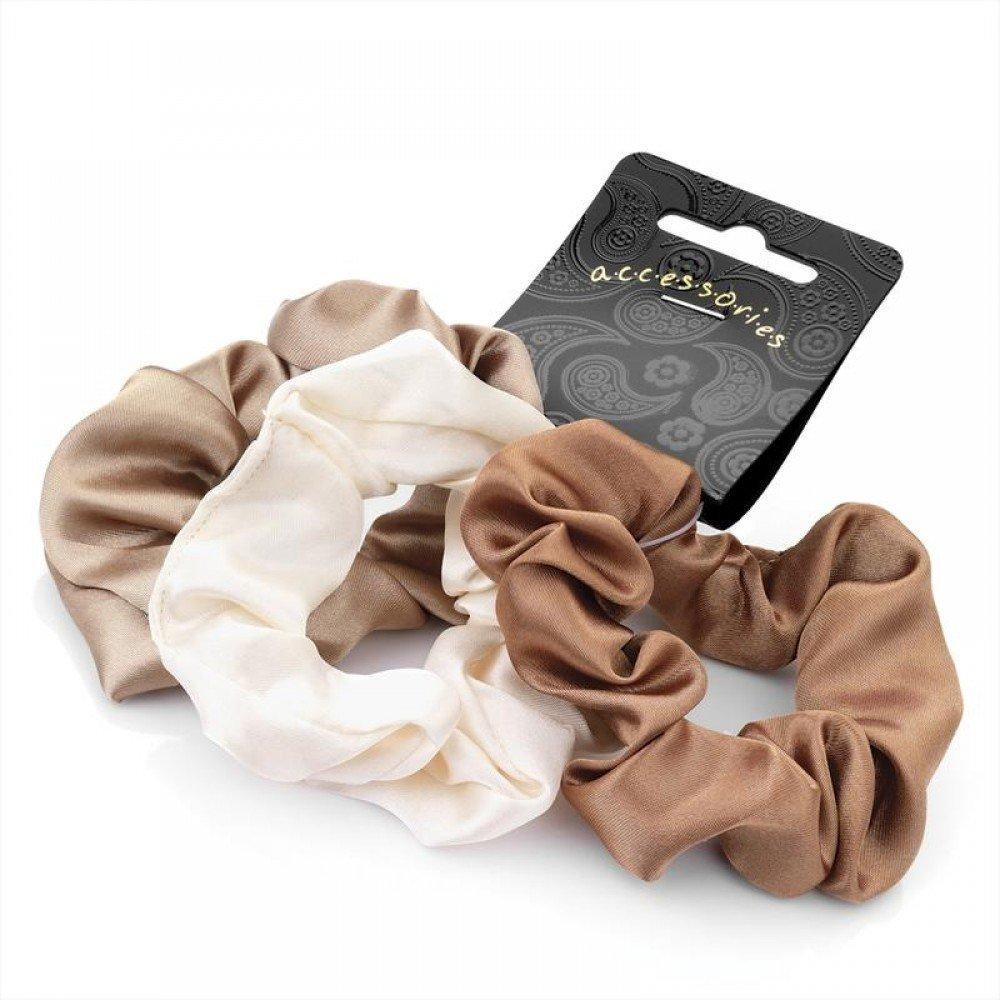 Set of 3 Brown Tone Satin Feel Hair Scrunchies Bobbles Hair Bands Pritties Accessories PRH04124