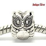 1x Antique Silver Owl Charm Bead will fit on Pandora/Troll/Chamilia European Type Bracelets 10x8mm