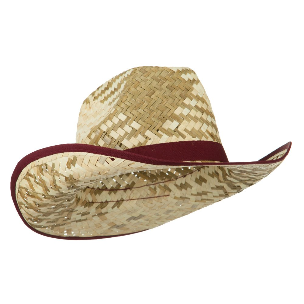 f4f63b2570a74 Contrast Detail Natural Straw Cowboy Hat - Burgundy OSFM at Amazon Men s  Clothing store