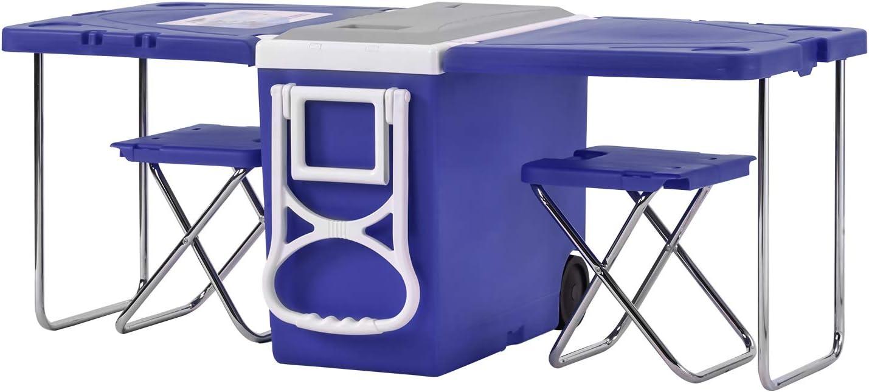 LGC - Caja refrigeradora multifunción con ruedas para picnic, camping, mesa y 2 sillas con 2 taburetes 28L/8 horas para camping, playa, barbacoa, pesca, familia y mesa extensible y plegable