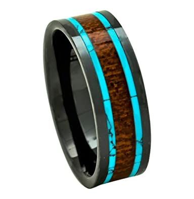 Wood Wedding Ring | Pch Jewelers Men S Koa Wood Wedding Band Or Gift With Turquoise 8mm