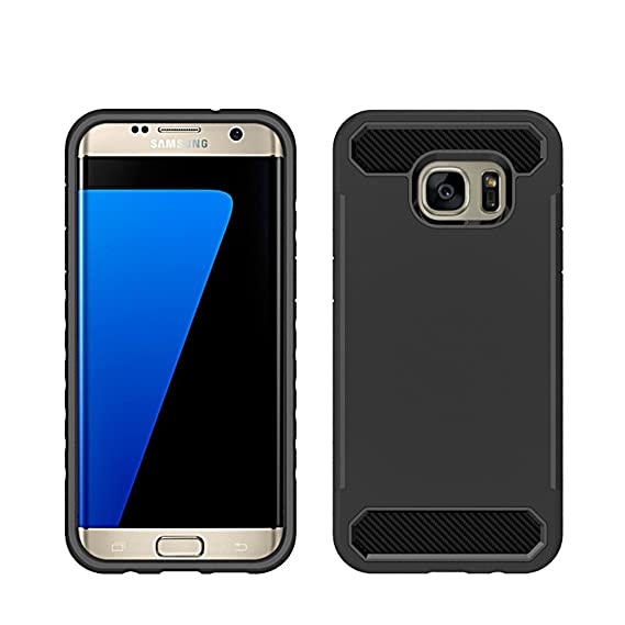 more photos cd4e5 42a5f Amazon.com: [CLINGCASE] Rugged Armor Galaxy S7 Edge Case, Carbon ...