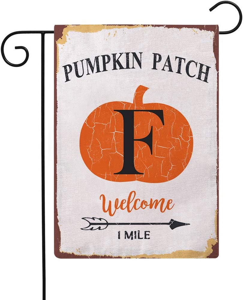 Country Rustic Pumpkin Decorative Garden Flags with Letter F Double Sided Autumn Harvest Pumpkin Patch Farmhouse Outdoor Welcome Garden Flags 12.5×18 Inch for House Garden Yard Patio Decor (F)
