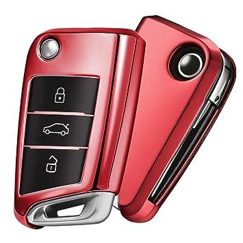 OATSBASF Funda para Llave VW, Funda Llave VW Golf 7-3 Botones para Coche VW MK7 Seat Skoda Carcasa de Llaves TPU (Rojo)
