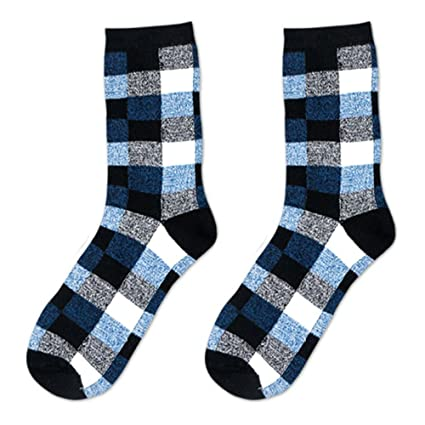 MMRM Classic Hombres cuadros rombos calcetines de algodón Casual Otoño Calcetines (2 pares),