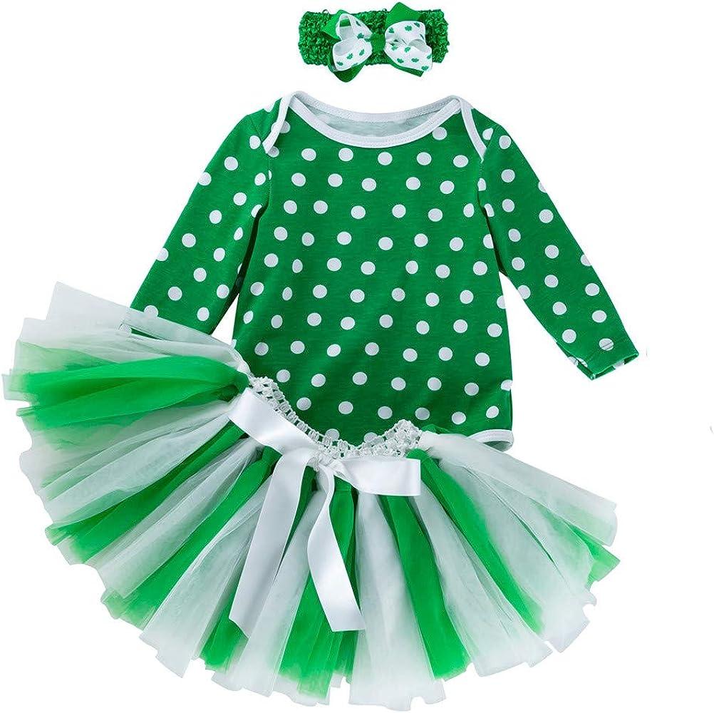 Conjunto de 3 Piezas para bebé niña San Patricio de Manga Larga + Falda Verde 80 cm: Amazon.es: Ropa y accesorios