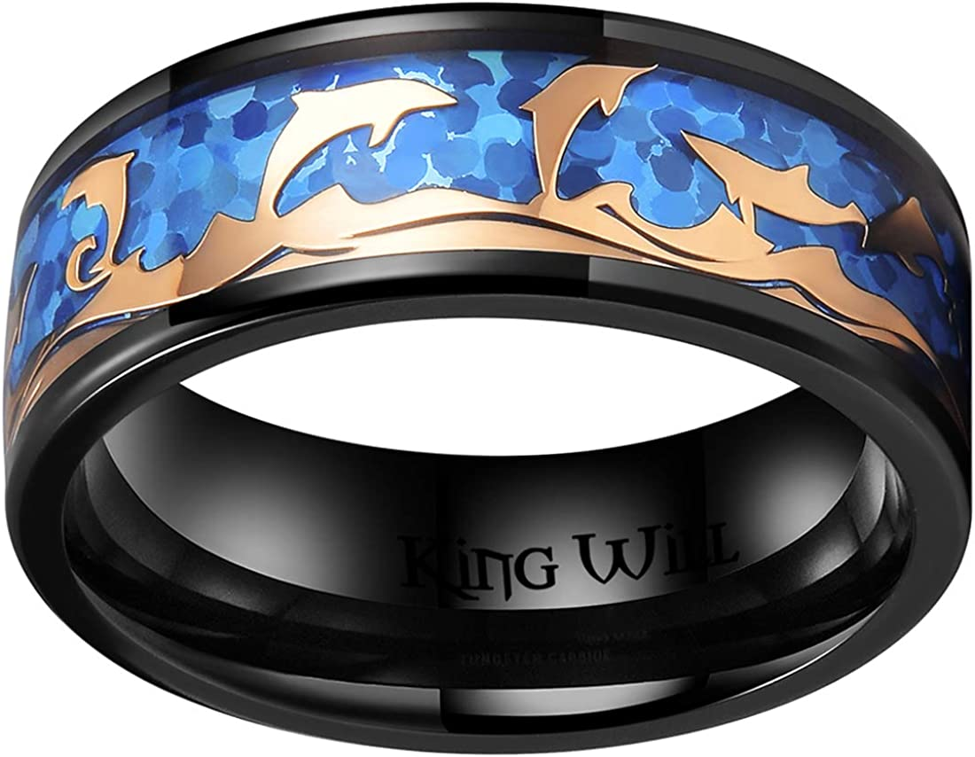 King Will Mens 8mm Black Titanium Wedding Ring Inlay Blue Opal Sticker&Rose Gold Dolphin