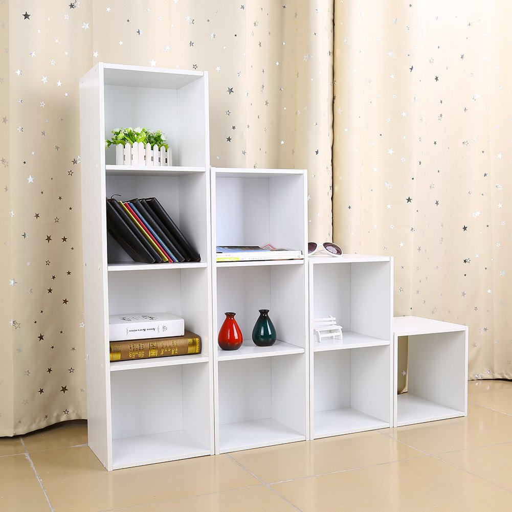 Design Display Bookshelf amazon com wooden bookcase shelf4 tier bookcases cube shelving display storage wood book shelveswhite kitchen dining