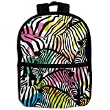 Zebra With Colorful Wildlife Africa Childrens School Backpacks Casual Daypack Travel Outdoor For Boys And Girls