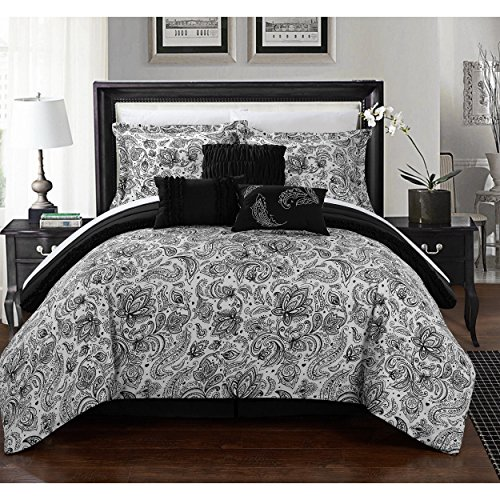 6 Piece Jet Black White PLated Ruffled Paisley Floral Theme Comforter Twin Set, Beautiful All Over ScrollWork Motif Intricate Flower Bedding, Reversible Horizontal Stripe Ruffle Pleat Themed Pattern