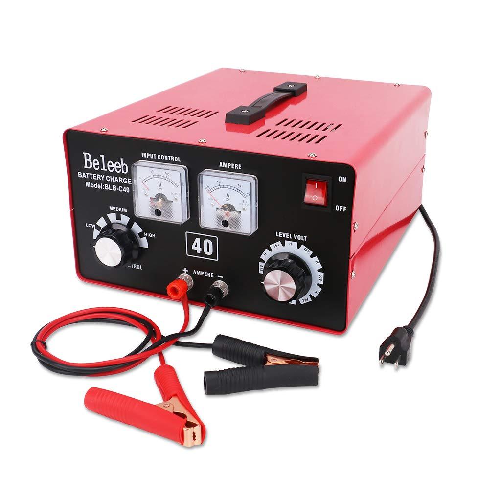 Beleeb Battery Charger,12V/24V/36V/48V/60V/72V Voltage and Current Manually Adjusted,Automotive Charger and Maintainer for Car, Golf Cart, Lawn Mower, Marine, Boat, Snowmobile, ATV, RV, SLA AGM GEL CE