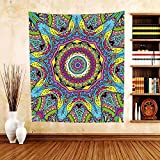 Gzhihine Custom tapestry Psychedelic Tapestry Abstract Unusual Figure with Color and Form Details Hippie Arabesque Retro Pattern for Bedroom Living Room Dorm Multi
