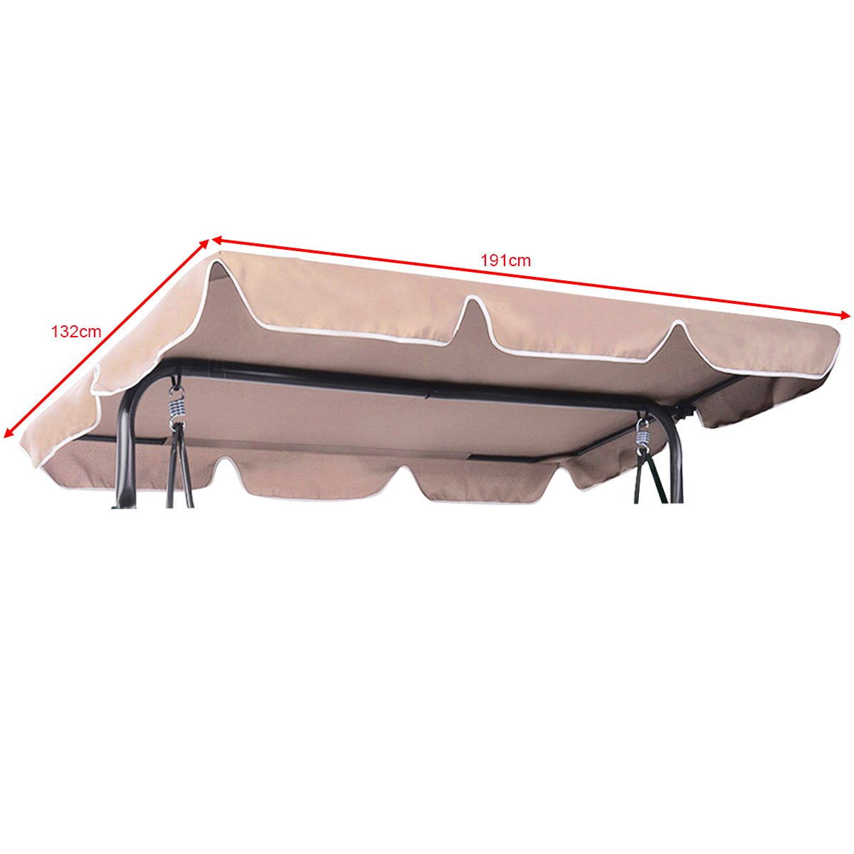 CASART Beige Replacement Canopy 2 & 3 Seater Swing Chair Top Hammock Cover for Garden Patio Outdoor (110 x 200cm)