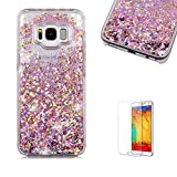 For Samsung Galaxy S8 Plus Glitter Case,Funyye 3D Creative Floating Water Liquid Small Love Hearts Design Luxury Sparkly Bling Glitter Back Hard Shell Protective Case Cover With Soft TPU Bumper Samsung Galaxy S8 Plus-Rose Gold