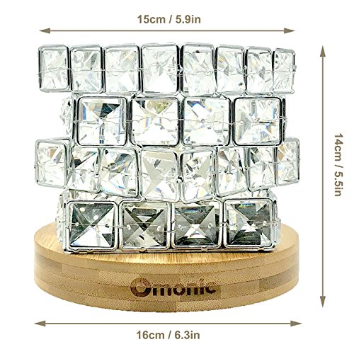 Maymii.Home Omonic Luxury Mosic Glass Crystal Basket Cube Fire Bowl Pink Himalayan Salt Lamp Crystal Chunks Table Desk Lamp Light Night Light Lights Touch Dimmer Switch Control with Bamboo Base by MAYMII·HOME (Image #8)