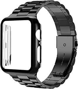 baozai Compatible with Apple Watch Band 44mm 42mm 40mm 38mm with Case, Stainless Steel Band and Full Cover with iWatch Glass Screen Protector for Series 6/5/4/3/2/1/SE (Black Band + Case, 44mm)