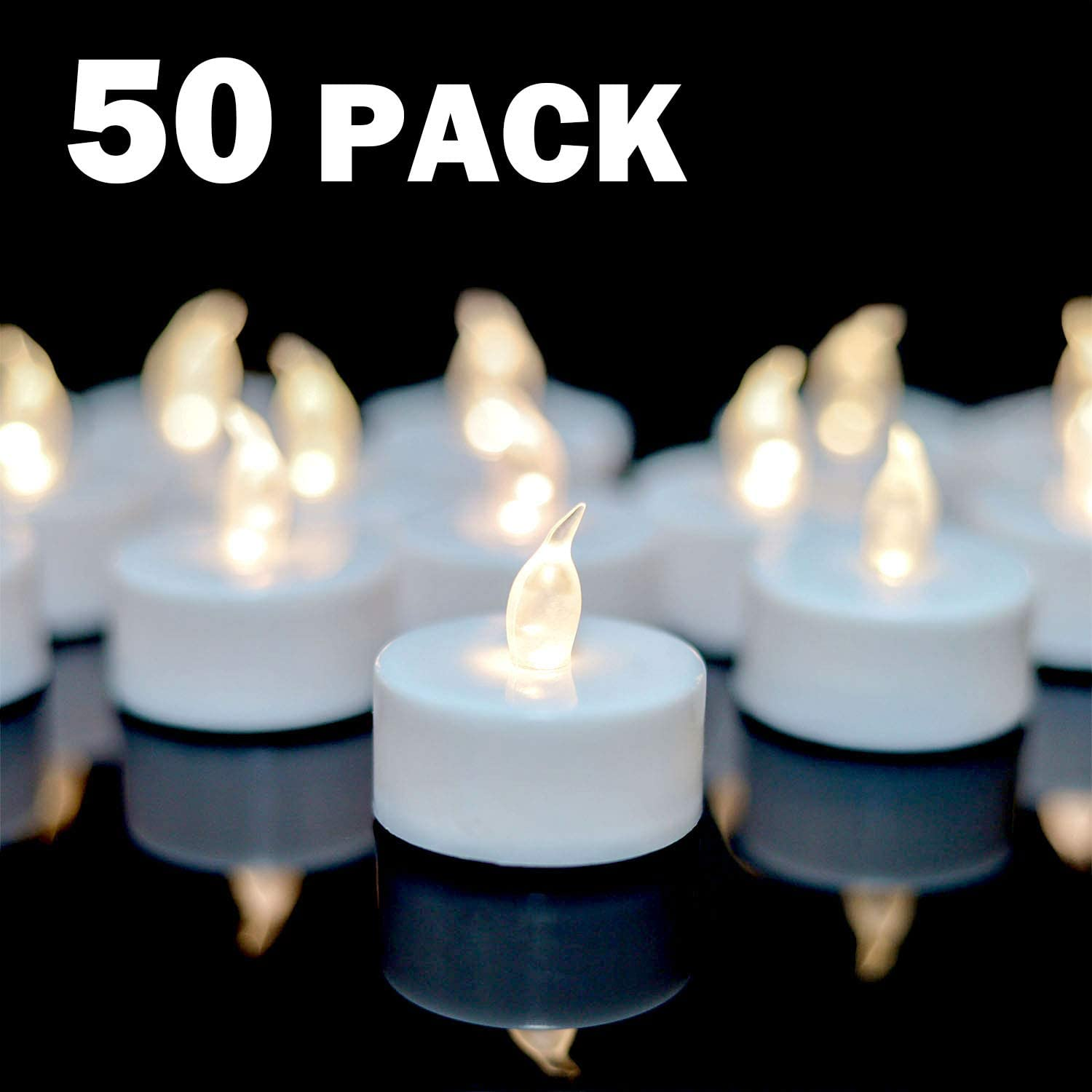 YIWER Flameless LED Tealight Candles 100 Hours Pack of 50 tealights with Battery Operated Flickering Bulb for Seasonal Festival Celebrations,Small Realistic Candles in Warm White