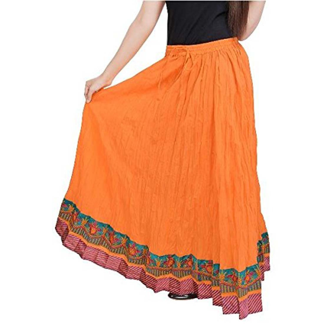 Indian Handicrfats Export Women A Beautiful Rajasthani Ornage Skirt with Border(Light orange)(SMSKT521)