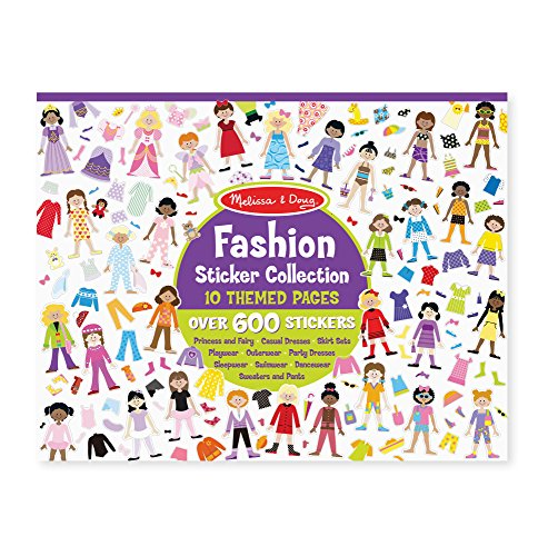 Fashion Sticker - Melissa & Doug Sticker Collection Book - Fashion, 600+ Stickers, 10 Pages