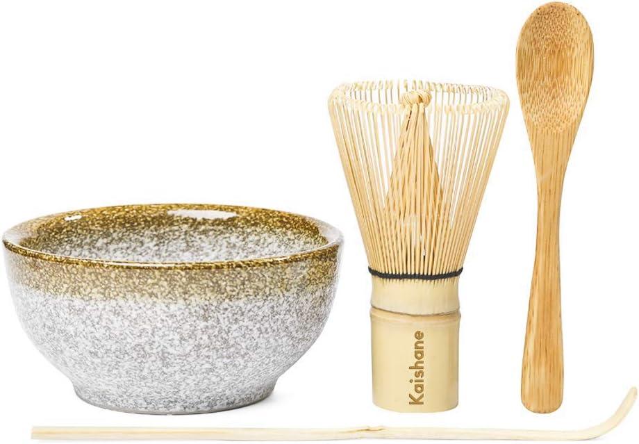 KAISHANE Matcha Batidor Set  Juego de Ceremonia de té Matcha de 4, Que Incluye 100 batidoras Matcha (Chasen), Cuchara Tradicional (Chashaku), Cuchara de té y tazones cerámicos de Matcha.