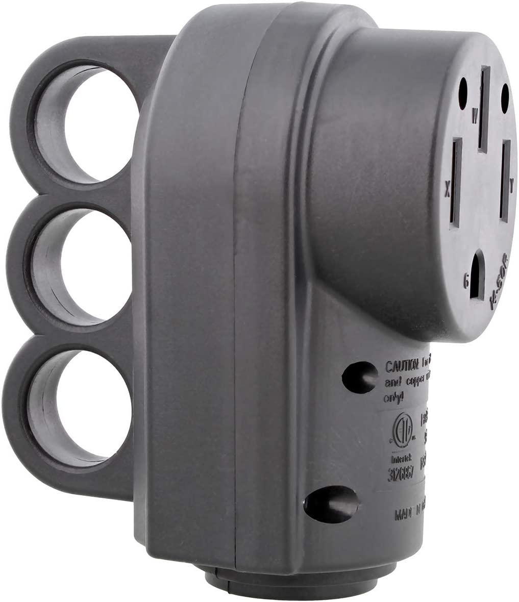 Dumble 50 Amp RV Plug Replacement RV Electrical Adaptors RV Plug Adapter RV Power Cord 50A 125//250V 4-Prong Female
