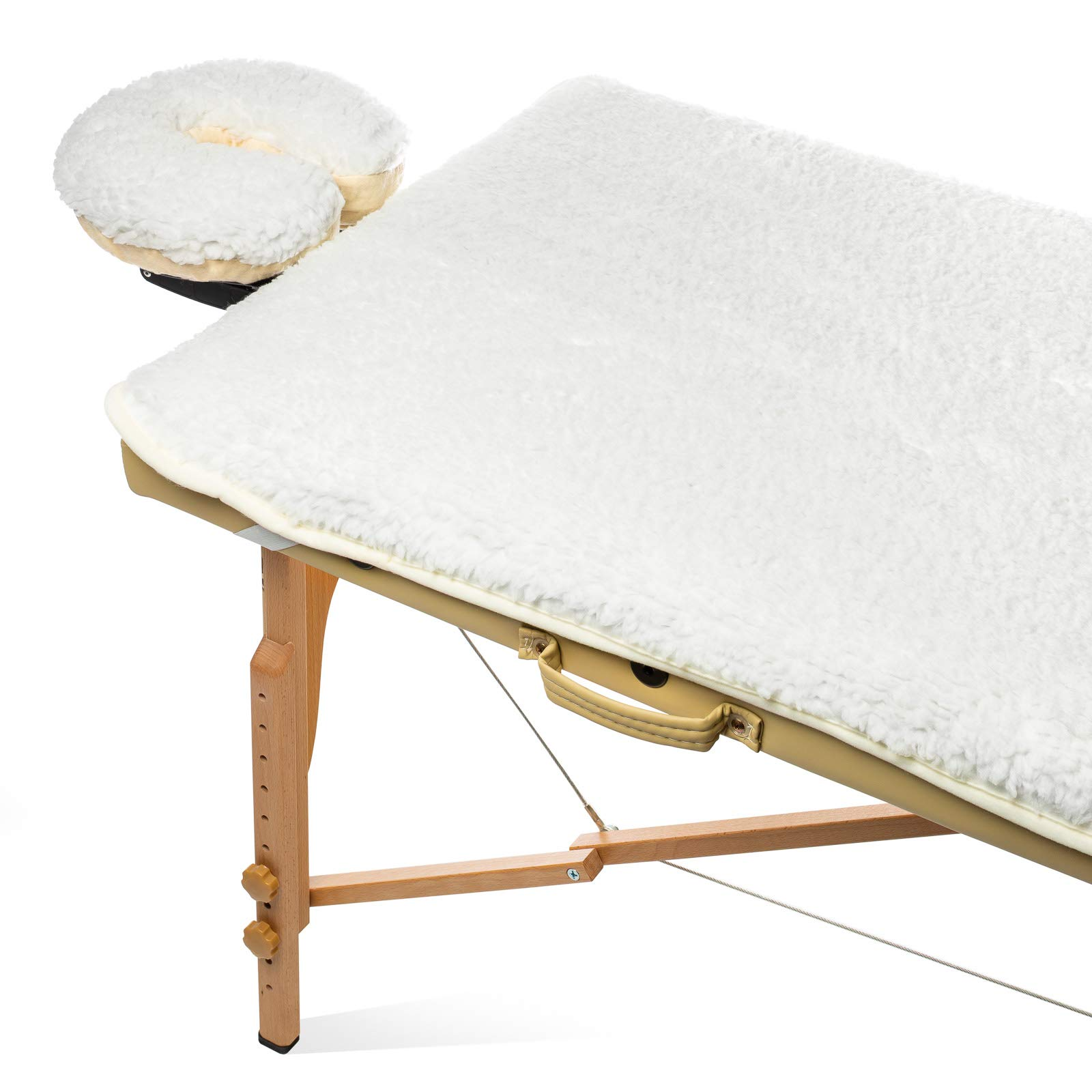 Saloniture Fleece Massage Table Pad & Face Cradle Set - Soft and Comfortable 1/2'' Thick Facial Bed and Headrest Cover - Natural by Saloniture