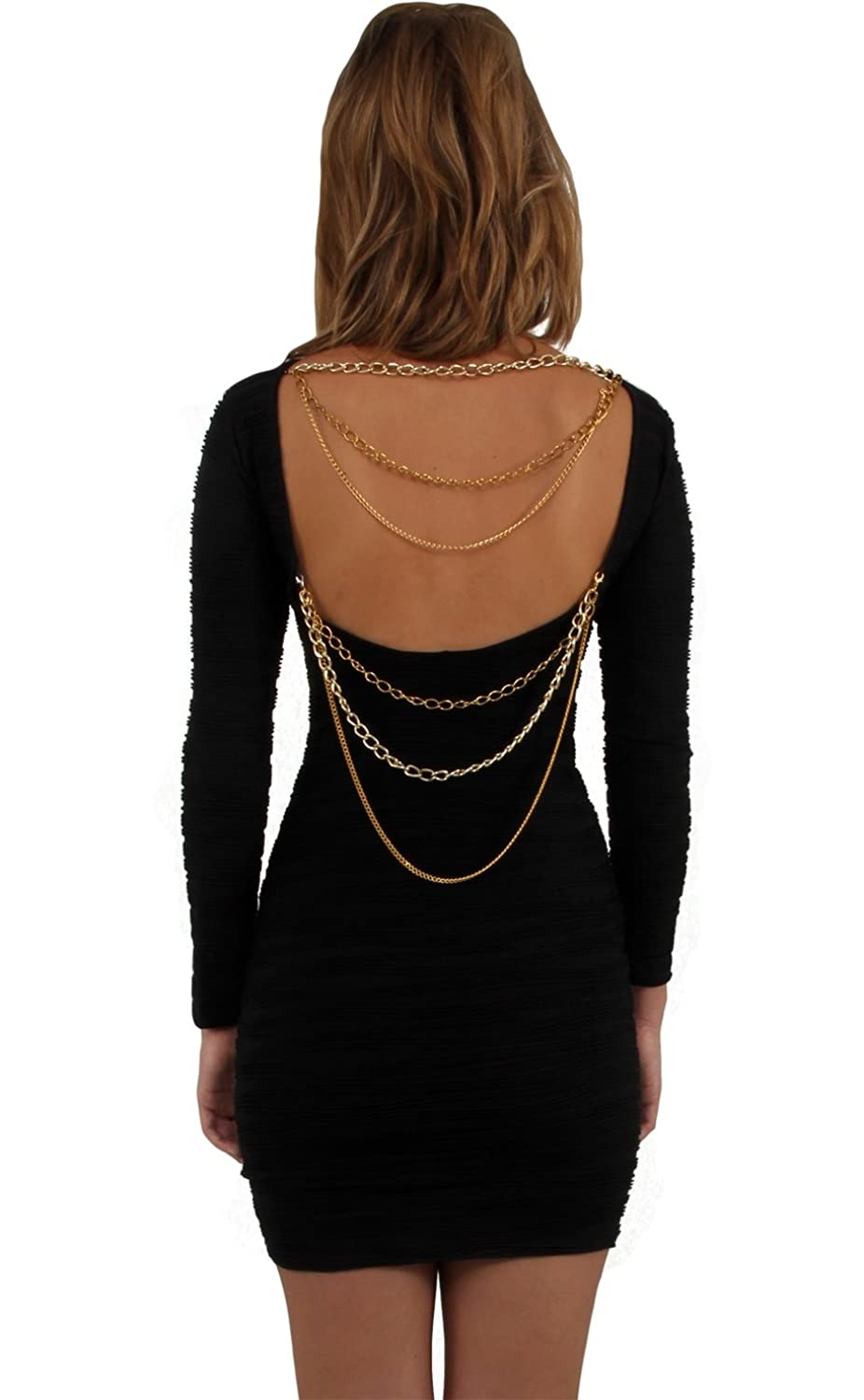 Ladies Black Dress Backless Bodycon Clubbing Mini Short stretchy Chain party