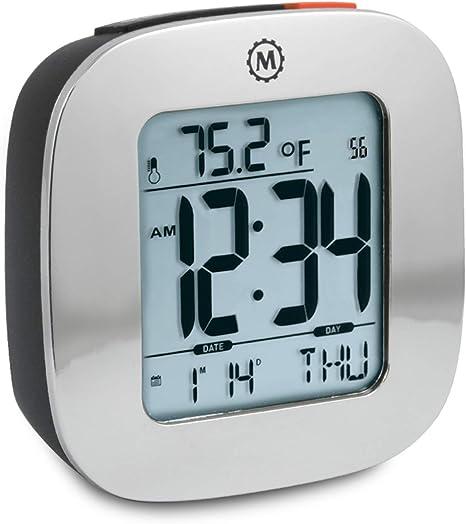 Travel Alarm Clock Model S White Alarm Clock Snooze Light Small Clock//With Battery