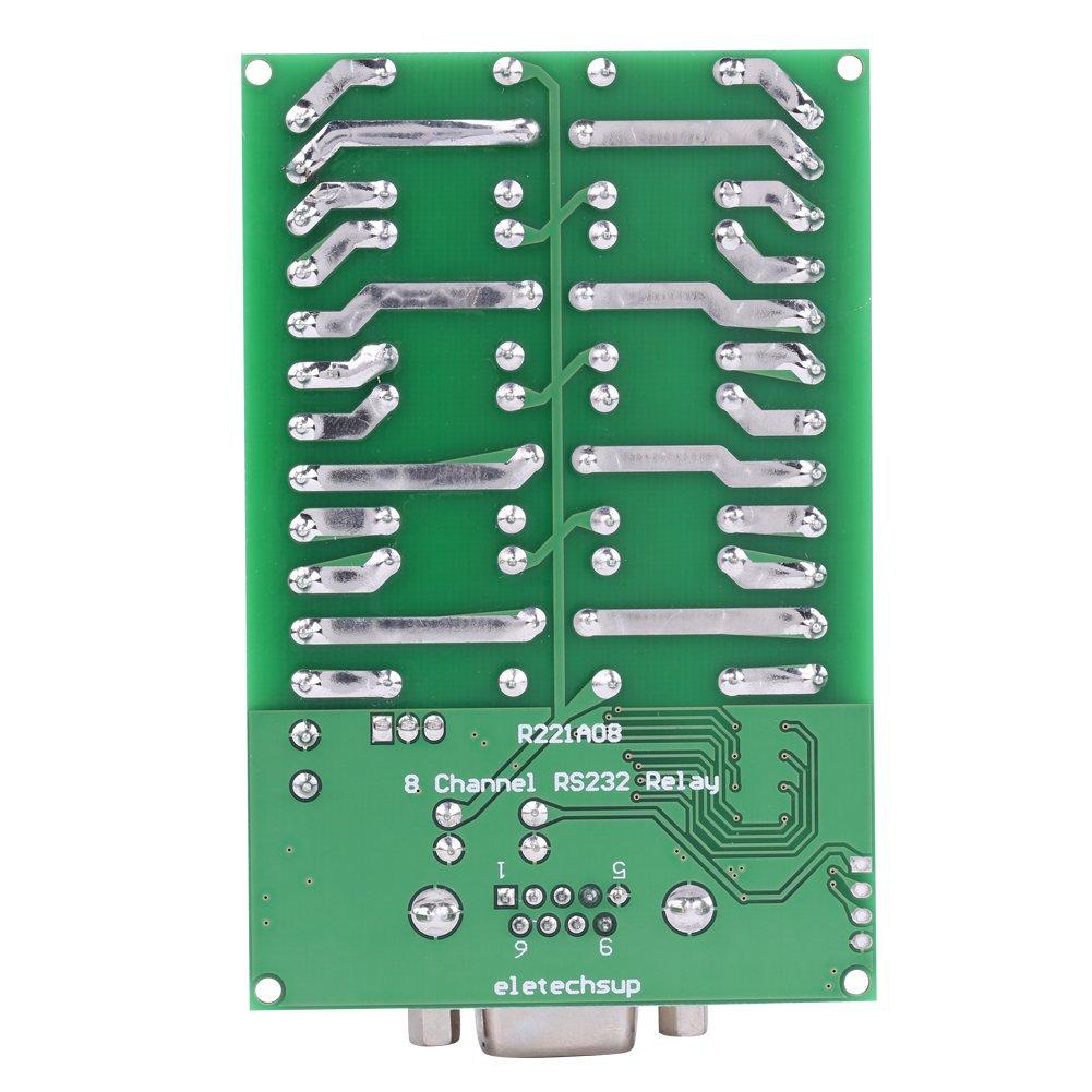 Clic Enclavamiento con 6 comandos Leer Cerrar rel/é de 8 Canales DC 12V Rel/é Interfaz RS232 DB9 Hembra Abrir m/ódulo de rel/é Autobloqueo
