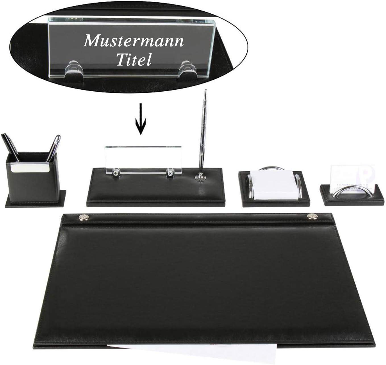 Emet set da scrivania in 5 pezzi set di blocco note con targhetta personale in finta pelle in 3 colori Colorazione:Nero