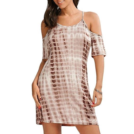 7eca61907fae52 kleid damen sommer, FEITONG Damen Sommerkleid Minikleid Kurzarm Casual Strand  Kleid Rock Partykleid Cocktailkleid tie