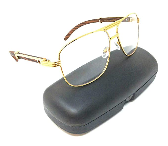 ccbcb9f51107 Executive Metal   Wood Aviator Eyeglasses Clear Lens Sunglasses - Frames ( Gold   Cherry