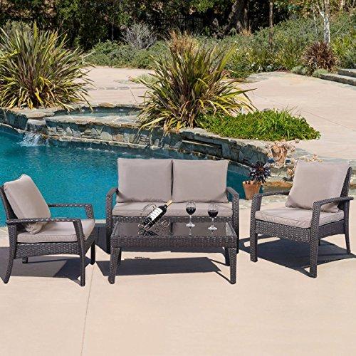 Amazon.com : Giantex 4pc Patio Rattan Furniture Set Tea Table U0026Chairs  Outdoor Garden Steel Frame : Garden U0026 Outdoor
