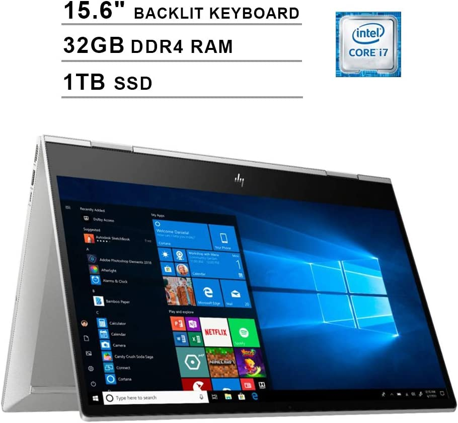 2020 HP Envy X360 15.6 Inch FHD 1080P 2-in-1 Touchscreen Business Laptop (Intel 4-Core i7-10510U up to 4.9GHz, 32GB DDR4 RAM, 1TB SSD, Intel UHD Graphics, Backlit KB, FP Reader, WiFi, Win 10)